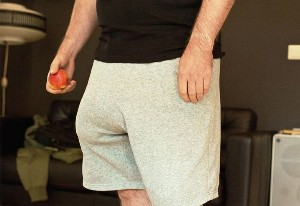 Man with an enlarged penis